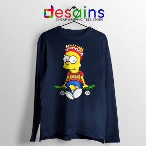 Funny Bart Simpson Skateboard Navy Long Sleeve Tee Skate