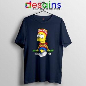 Funny Bart Simpson Skateboard Navy T Shirt Skate Pro