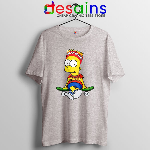 Funny Bart Simpson Skateboard Sport Grey T Shirt Skate Pro