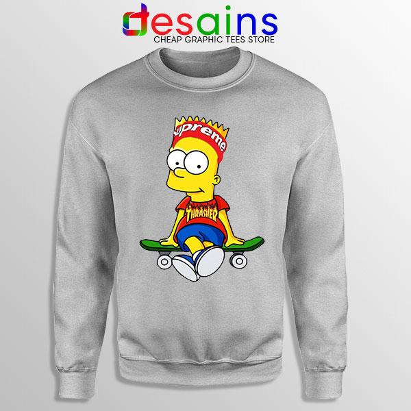 Funny Bart Simpson Sport Grey Skateboard Sweatshirt Skate Pro