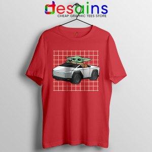 Funny Cybertruck Baby Yoda Red T Shirt Tesla