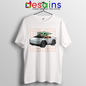 Funny Cybertruck Baby Yoda White T Shirt Tesla