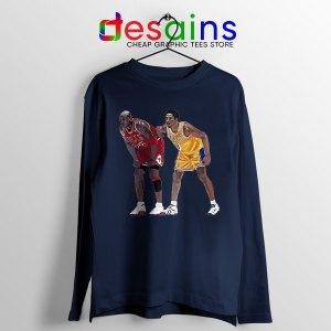 Kobe Jordan Real GOAT Navy Long Sleeve Tee NBA Legend