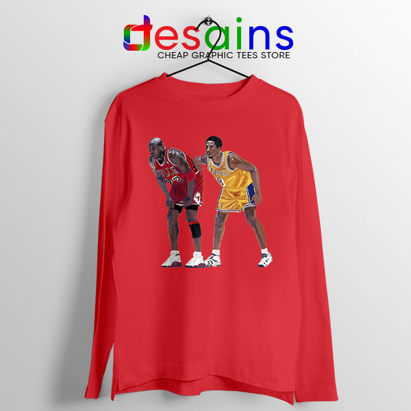 Kobe Jordan Real GOAT Red Long Sleeve Tee NBA Legend