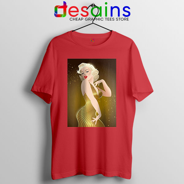 Marilyn Monroe Gold Smile Red T Shirt Sexy Actress