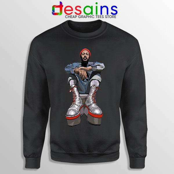 Marvin Gaye Music Boots Black Sweatshirt Back In 73