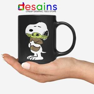 Snoopy Baby Yoda Friends Black Mug Funny Mandalorian