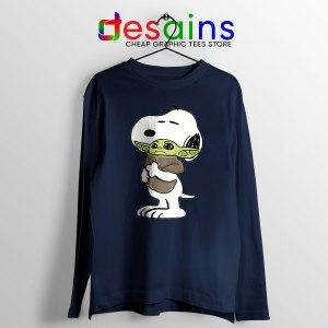 Snoopy Baby Yoda Friends Navy Long Sleeve Tee Mandalorian