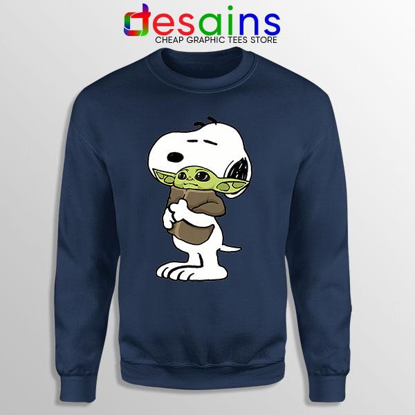 Snoopy Baby Yoda Friends Navy Sweatshirt Mandalorian