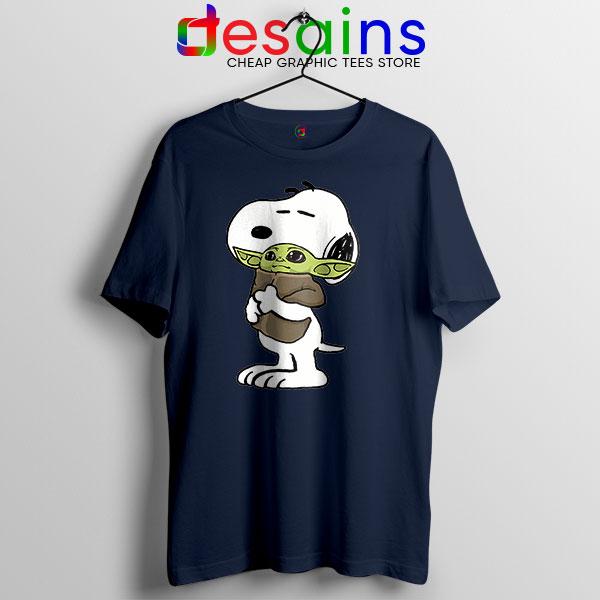 Snoopy Baby Yoda Friends Navy T Shirt Mandalorian