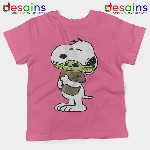 Snoopy Baby Yoda Friends Pink Kids Tee The Mandalorian