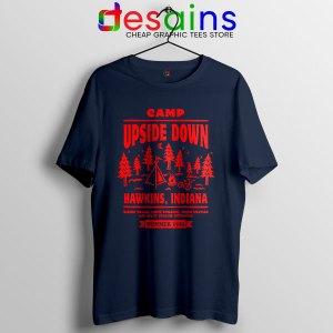 Camp Upside Down Hawkins Navy Tshirt Stranger Things