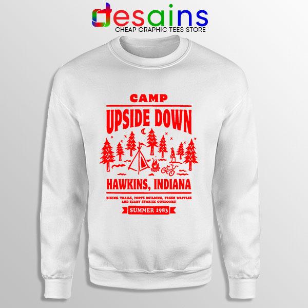 Camp Upside Down Hawkins WHite Sweatshirt Stranger Things