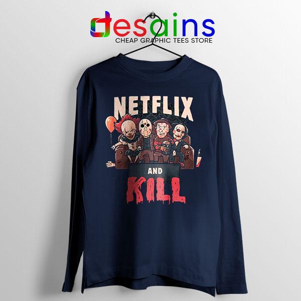 Classic Scary Horror Movie Navy Long Sleeve Tee Netflix Kill