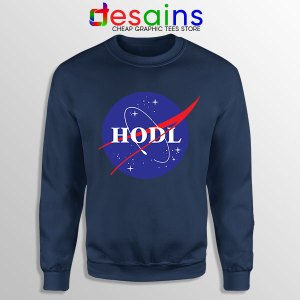 Crypto HODL NASA logo Navy Sweatshirt Meme