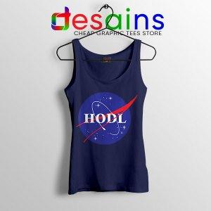 Crypto HODL NASA logo Navy Tank Top Meme