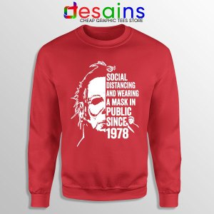 Funny Michael Myers Covid Red Sweatshirt Real Face