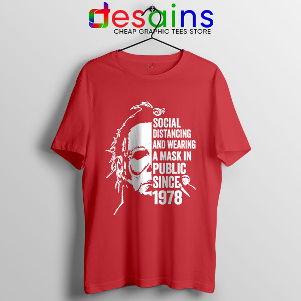 Funny Michael Myers Covid Red Tshirt Real Face