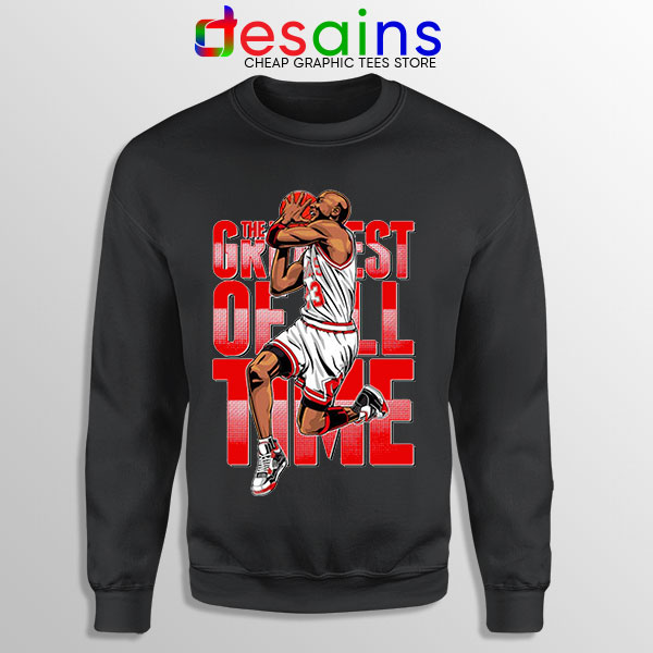 GOAT Michael Jordan Fire Red Black Sweatshirt Retro NBA