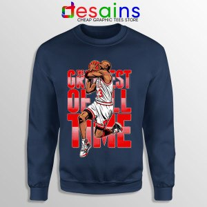 GOAT Michael Jordan Fire Red Navy Sweatshirt Retro NBA