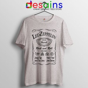 Led Zepelin Whiskey Sport Grey Tshirt Old School Daniels