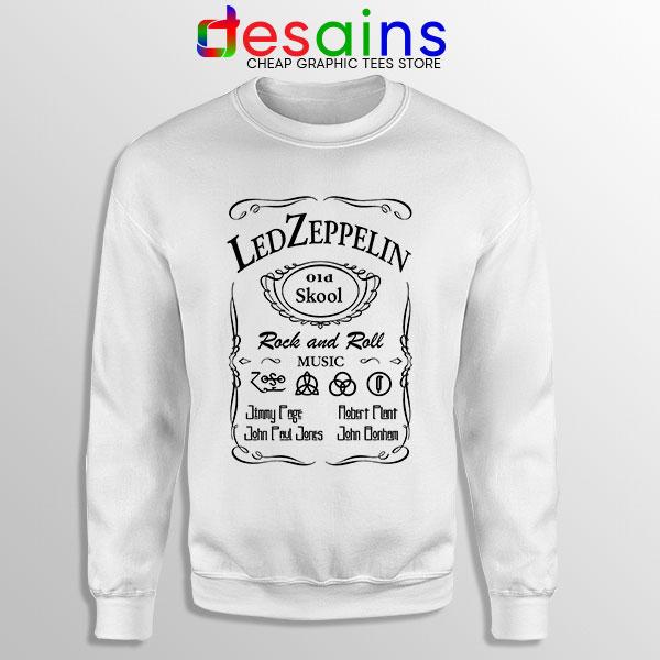 Led Zepelin Whiskey White Sweatshirt Old School Daniels