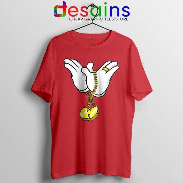 Mickey Gloves Wu Tang Chain Red Tshirt Cheap Funny