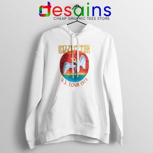 North American Tour 1975 Merch White Hoodie Led Zeppelin