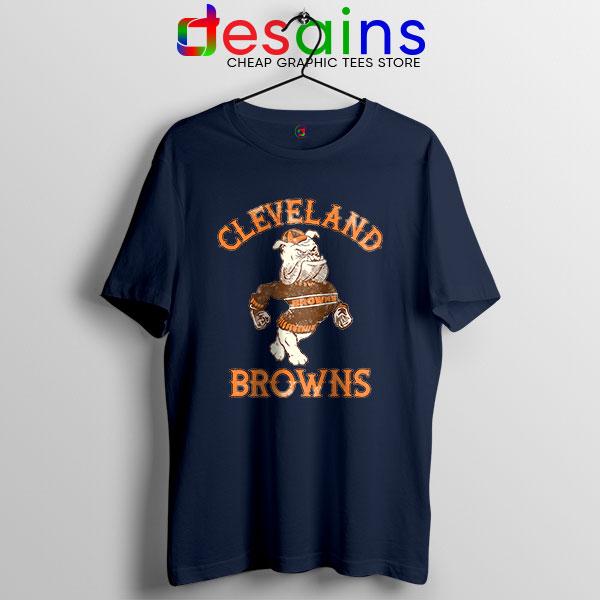 Retro Symbol Cleveland Browns Navy Tshirt NFL