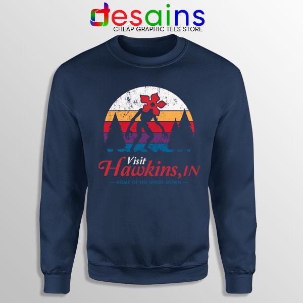 Visit Hawkins Stranger Things Navy Sweatshirt The Upside Down