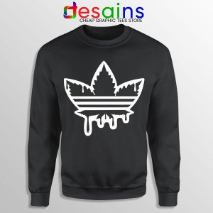 Funny Cannabis Three Stripes Black Sweatshirt Adidas Parody