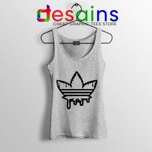Funny Cannabis Three Stripes Sport Grey Tank Top Adidas Parody