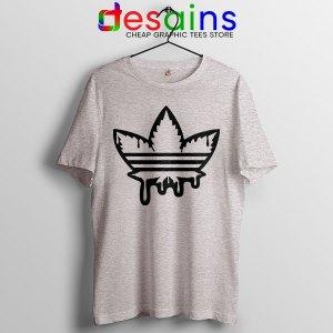 Funny Cannabis Three Stripes Sport Grey Tshirt Adidas Parody