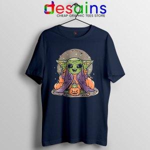Funny Pumpkin Baby Yoda Halloween Navy Tshirt Mandalorian