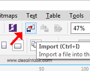 Icon Import / buka File dari Corel dari PDF, JPG, PNG, Ms Word