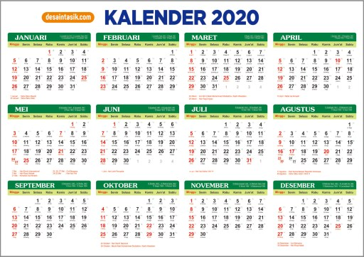 Download Kalender 2020 Indonesia (JPG, PNG, PDF, CDR, PSD)