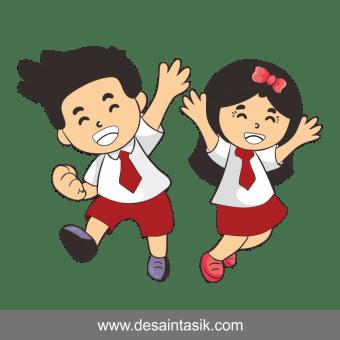 Kartun Anak Sekolah SD vector