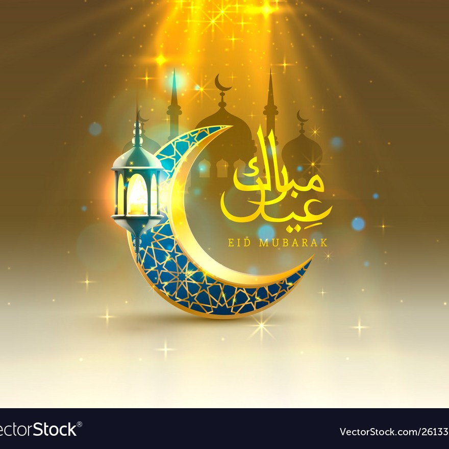 Eid mubarak cover card, Drawn mosque night view from arch. Arabic design background. Handwritten greeting card.