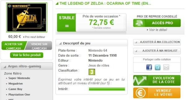Prix de Ocarina of Time en boîte sur Nintendo 64 - Argusjeux.fr rétrogaming