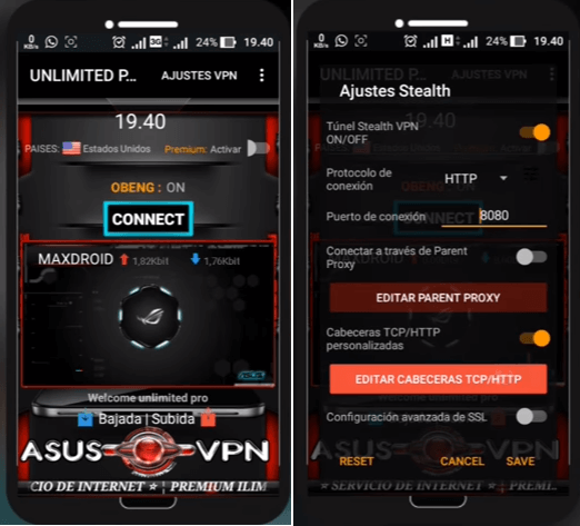 Descargar Asus VPN mod Pro unlimited apk Android gratis