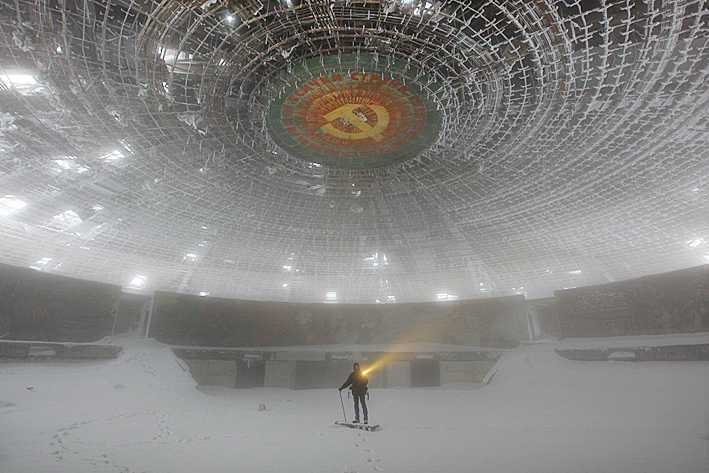 The Buzludzha Monument (Buzludja, Бузлуджа) Mount Buzludzha (1441m) Buzludzha National Park Central Balkan Mountain Range (Stara Planinia, Стара планина) Bulgaria Photo: Copyright TIMOTHY ALLEN http://humanplanet.com