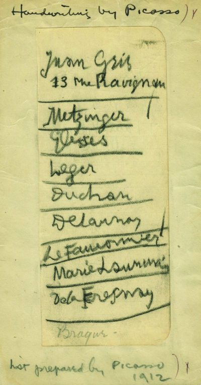Pablo Picasso, recommendations for the Armory Show for Walt Kuhn, 1912