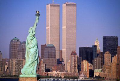 Statue of Liberty and Twin Towers, World Trade Center at Sunset, New York City, New Jersey, New York, designed Minoru Yamasaki