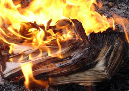 Flame of burning paper sheet stack 08