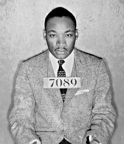 """Eastern State Penitentiary commemorates Dr. Martin Luther King, Jr. with special readings of """"Letter from Birmingham Jail."""" Photo: Dr. Martin Luther King Jr.'s mugshot from his arrest during the Montgomery bus boycott. Montgomery County Sheriff's Department, Alabama, 1956. (PRNewsFoto/Eastern State Penitentiary)"""