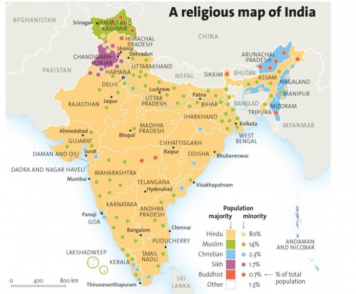 Resultado de imagen de indian religious map