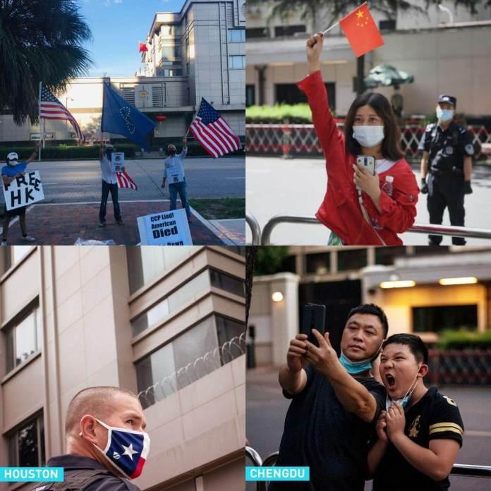 A la izquierda ciudadanos estadounidenses celebran el cierre del consulado chino de Houston, a la derecha ciudadanos chinos celebran el cierre del consulado estadounidense en Chengdu