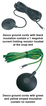 Desco ground cords with black insulation contain a 1 megohm current limiting resistor located at the snap end / Desco ground cords with green and yellow striped insulation contain no resistor