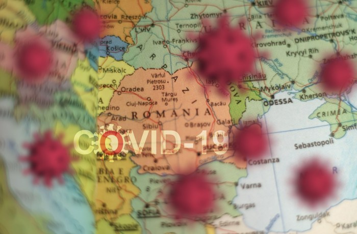Covid-19 outbreak or new Coronavirus, 2019-nCoV, virus on a map of ROMANIA . Covid 19-NCP virus: contagion and propagation of disease. Pandemic and viral epidemic.,Image: 516401649, License: Royalty-free, Restrictions: , Model Release: no
