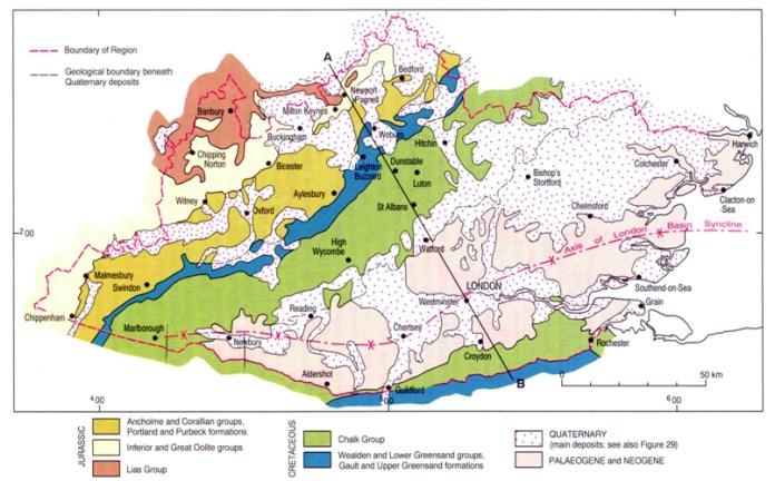 Geología de londres, Estratigrafía, historia geológica, tectónica, Londres, London Clay